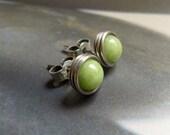 Jade Post Earrings, Wire Wrapped in Sterling Silver, Stud Earrings, Studs