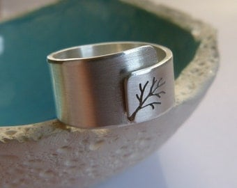 Adjustable tree ring, Sterling silver ring, wide band ring, metalwork jewelry