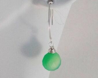 Apple Green Chalcedony Earrings on Sterling Silver
