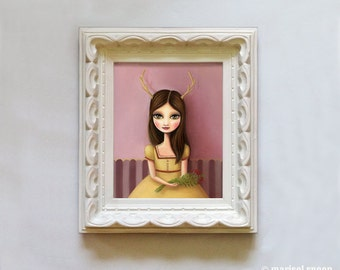 Girl fawn - Botanist print on somerset velvet - Woodland anthropomorphic art by Marisol Spoon