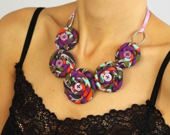 Multicolor Rosette Bib Necklace. OOAK Handmade