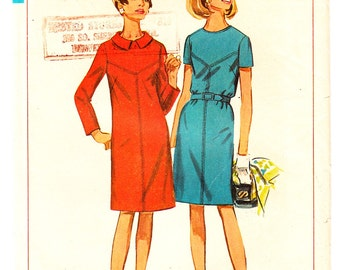 Vintage 1967 Simplicity 7397 Sewing Pattern Misses' Dress in Half Sizes Size 16-1/2 Bust 37