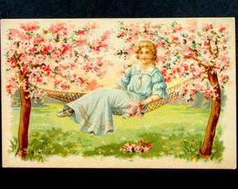 Victorian Lady & Flowers Vintage Postcard, Antique Postcard 1908, Embossed; Cheerful,Lovely