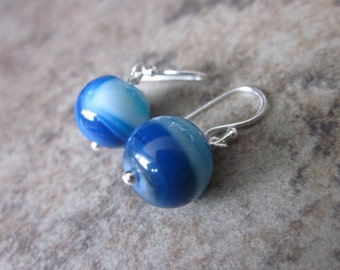 Blue Banded Agate Orb Earrings, 925 Sterling Silver, Chunky Gemstone Rounds, Bright Blue, Canadian Seller, Philosophia, Gifts for Her