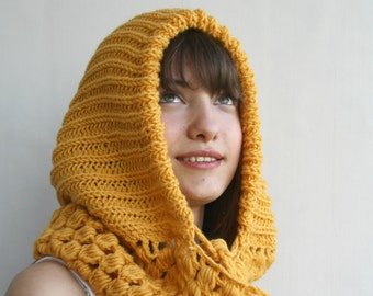 Yellow Mustard Wool Hooded  Chunky Infinity LOOP Scarf  Cowl Mothers Day gift Under USD100