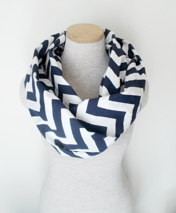 READY TO SHIP - Chevron Infinity Scarf - Jersey Knit - Navy Blue and White