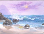 Beach ocean wave painting, 18x24 large pastel colored beach Acrylic Original Painting