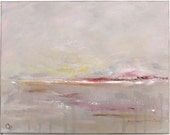 Serene abstract landscape painting, grey, pink and brown tones,11x14 Original oil and acrylic impressionist painting