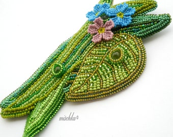 Bead Embroidery Forget-me-not flowers Brooch