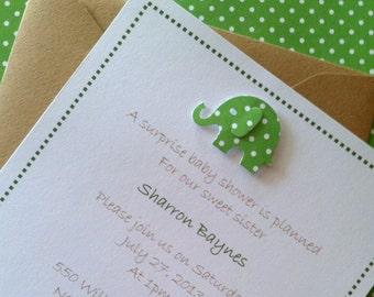 Elephant Baby shower invitations,  gender neutral green polka dot elephant