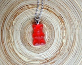 """Gummy Bear Necklace Pendant 22"""" Silver Chain 925 Red Strawberry Cherry"""