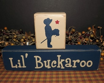 Lil Buckaroo primitive wood blocks sign