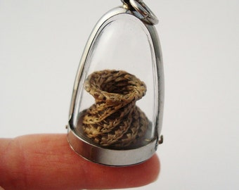 Miniature Horse Hair Basket, Plexi Glass Domed, Horsehair Charm, Tiny Coiled Basket HH18