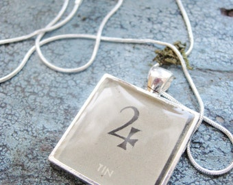 Tin/Jupiter Chemical Alchemy Vintage textbook Illustration set in Silver Plated Pendant with Solid Sterling Silver Snake Chain