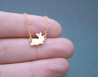 Tiny Baby Bunny Necklace Gold | Delicate Necklace