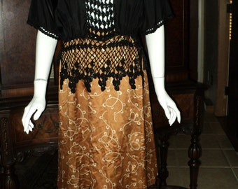 FINAL SALE Edwardian Downton Abbey Silk Blouse Made in France original crochet tassels Evening Rare 1910's Wearable