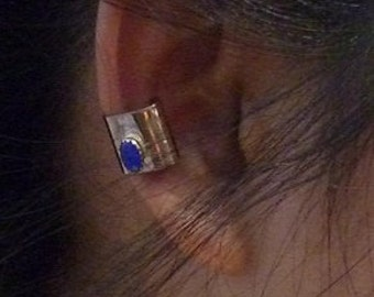 Ear Cuff 14kt Gold Filled with Tiny Blue Stone or Choose Another Color Ethnic and Afrocentric Jewelry