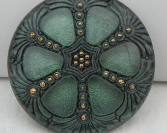 Large Wheel Czech Glass Button