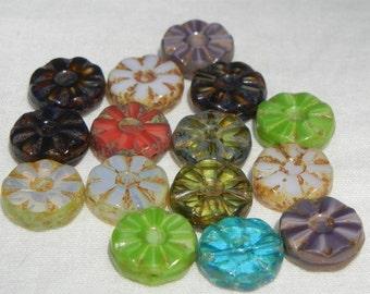 Czech Glass Bead Mix- Flower- Wheel-12mm (15)