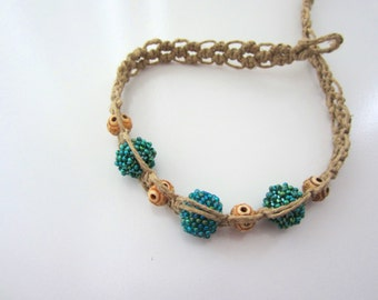 Hemp Choker Necklace with Green and Turquoise Beaded Beads and Carved Bone