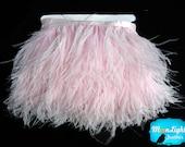 Pink Ostrich Fringe, 1 Yard - BABY PINK Ostrich Fringe Trim feather : 2248