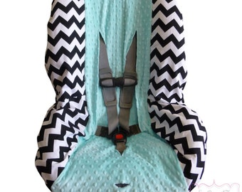 Car Seat Cover Black Chevron with Saltwater Blue