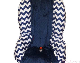 Toddler Carseat Cover Navy Chevron with Navy
