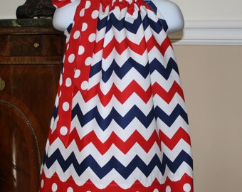 Pillowcase dress chevron red, white, blue dress patriotic todder dresses