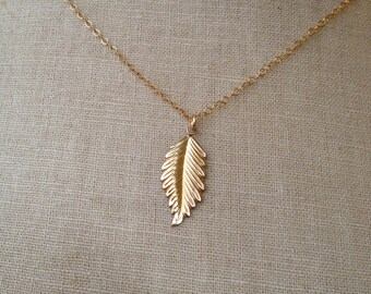 Gold Leaf Necklace, Leaf Necklace, Leaf Charm, Feather Necklace, Family Tree, Silver Leaf Necklace, Silver Feather, Bridesmaid Necklaces