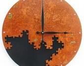 Puzzle III, Large Wall Clock, Rusted Wall Clock, rustic wall clock, unique wall clock, modern wall clock, steampunk wall clock