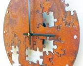 Puzzle V, Medium Wall Clock, Rusted Wall Clock, rustic wall clock, unique wall clock, modern wall clock, steampunk wall clock