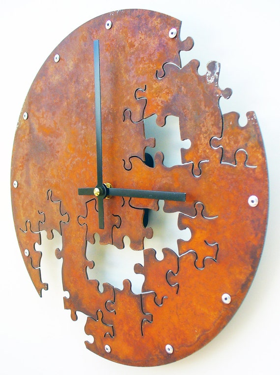 Puzzle V, Medium, Rustic Wall Clock, Unique Wall Clock, Modern Wall Clock, Steampunk Clock, Industrial Home, Metal Wall Art, Laser Cut Decor