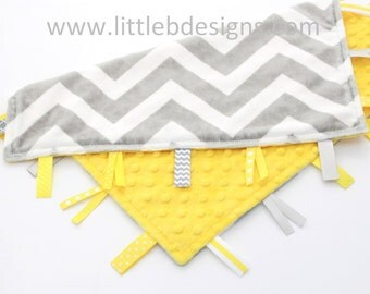 Gray and White Chevron Minky with Canary Yellow Tag Blanket  Ribbon Lovey - Personalized