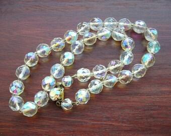 SALE Vintage Czech Aurora Borealis Glass Bead Necklace