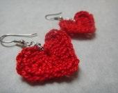 Crochet Red Heart Earrings (E9)