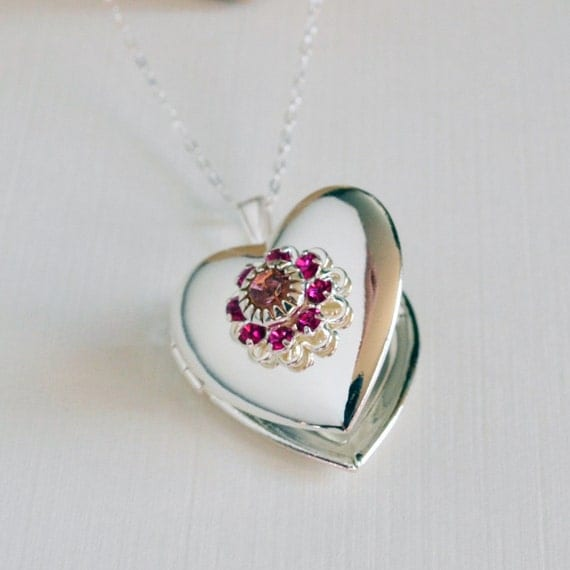 Veronica Locket - Smooth Silver Heart Locket Adorned with Swarovski Crystal Filigree in Pinks - Ultimate Gift with Your Photos Inside