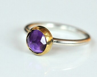 Amethyst silver and gold ring. Sterling band with 22k gold and rose cut amethyst. Size 6.5. February birthstone