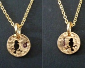 Double Sided Custom Initial on a Bird Cut Out Round Charm Necklace in a 16K Gold Plated Chain