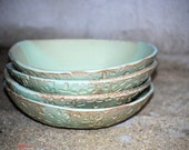 Pasta  Bowls salad bowls set of four  in  moss green