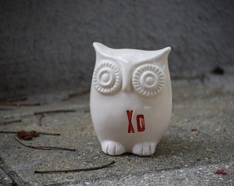 Valentines Day Decor, ceramic owl home decor, Valentines Day gift