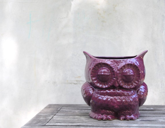 purple owl planter utensil holder