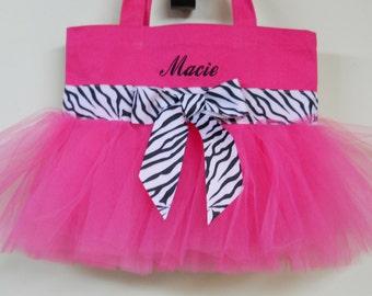 Tutu ballet bag, tutu dance bag, Naptime 21, Embroidered Dance Bag, Hot Pink tote Bag, dance bag, ballet bag, tutu bag,Tutu Tote Bag TB01 BP