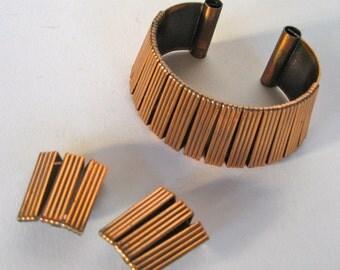 Copper Bracelet and earrings