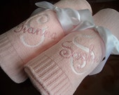 Personalized Soft Chenille knitted baby blanket in Pink or Blue