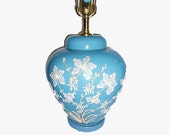 Vintage  Hollywood Regency Chinoiserie Glass Ginger Jar Lamp Blue With White and Ivory Icing  Painted Flowers