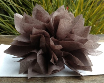 25 Slate Gray Paper Dahlia Napkin Rings. Perfect for weddings, receptions, baby showers, decor, birthdays. Tissue paper pom poms.