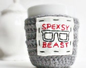 Coffee Mug Cozy Tea Cup Cozy Funny Spexsy Beast gray white black red crochet cover