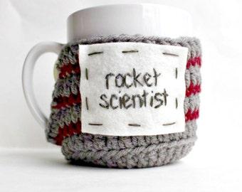 Coffee Mug Cozy, Tea Cup cosy, funny mug, rocket scientist , gray red stripe, crochet, handmade,science gift,NASA, engineer,stem, nerd, geek