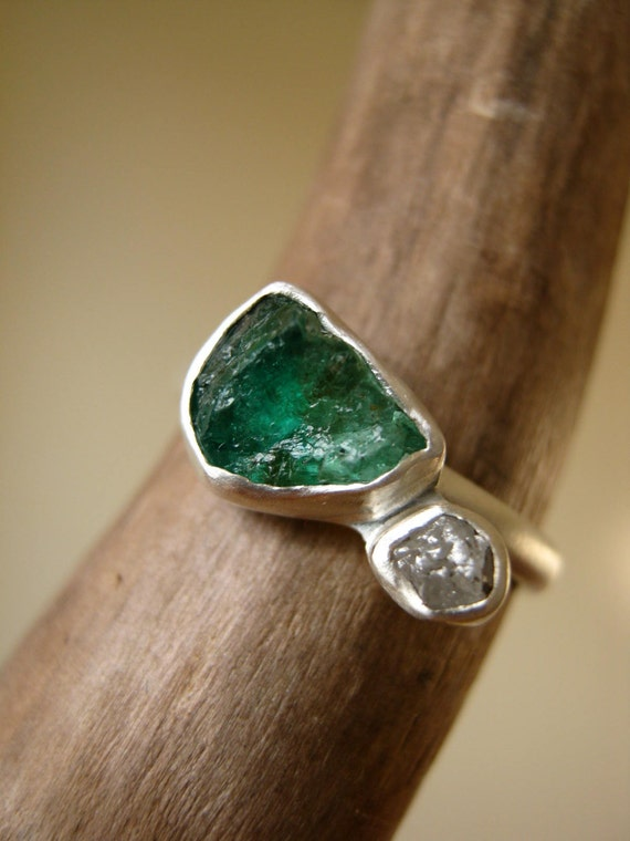 Engagement Ring with Rough Emerald and Rough Diamond in Sterling Silver and fine silver
