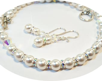 Bridal Necklace and Earrings with Sparkling Touches, Wedding Jewelry, Pearl Jewelry